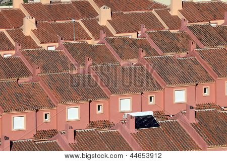 Roofs Of Red Residential Houses