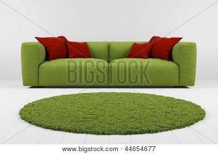Green Sofa With Carpet Closeup
