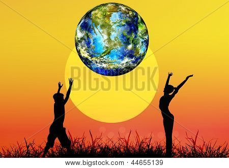 Earth day.Children and globe planet Earth