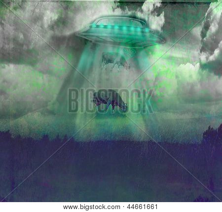 Image Of A Ufo Levitating A Cow With A Night Sky Background.