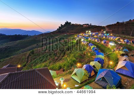 camping tent at dawn on the mountain