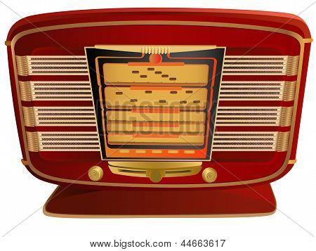 Vector Illustration Of Red Retro Radio.