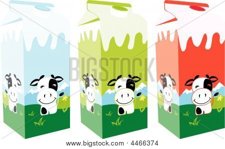 Isolated Milk Carton Boxes