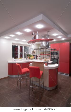 Red Modern Kitchen.