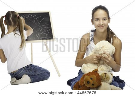 Two Girl Are Isolated On A White