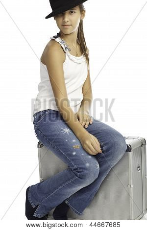 Isolated Girl With Luggage