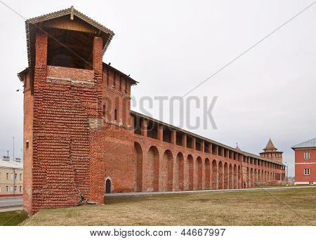 Tower and a wall of Colomna kremlin