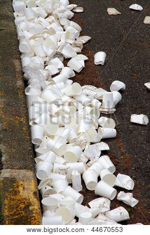 Discarded Paper Water Station Cups From A Race
