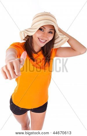 Portrait Of A Young Beautiful Asian Woman Making Thumbs Up - Asian People