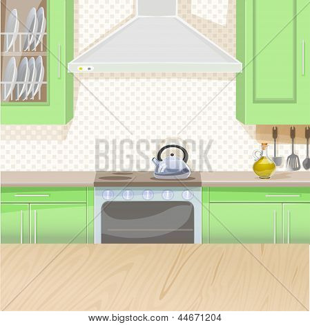 Interior of kitchen with stove and cupboards