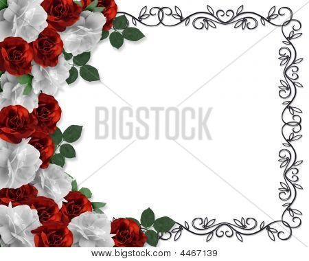 Valentine Or Wedding Border Roses Stock photo