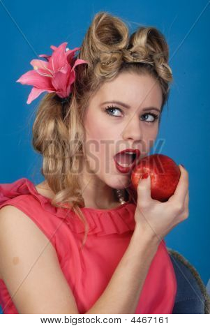Cute Retro Girl Biting Into An Apple