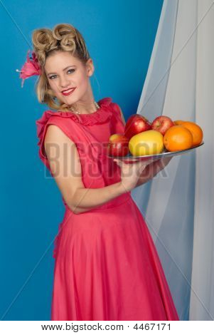 Fifties Pinup Girl With Fruit