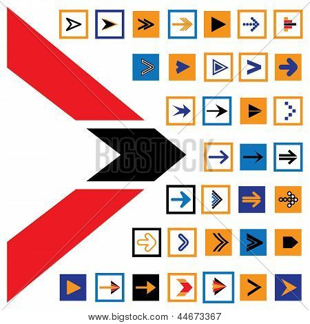 Abstract Arrow Icons & Symbols In Squares- Vector Illustration