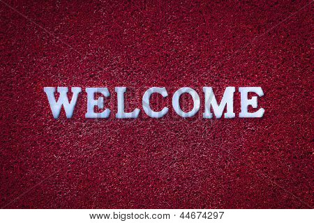 Welcome Text On Red Carpet