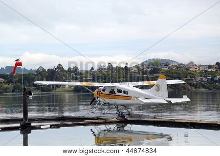 Sea plane adventures DHC-2 Beaver aircraft ready to fly with tourists over San Francisco Bay