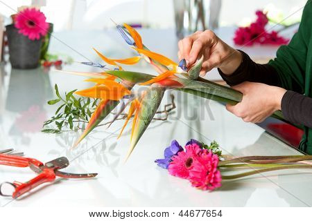 Female Hands Arranging Bouquet.