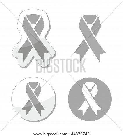 Silver ribbon - children with disabilities, Parkinson's disease awereness sign