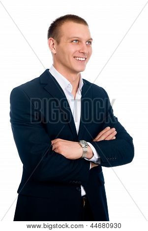 Portrait Of Happy Successful Businessman. Looks Aside Up