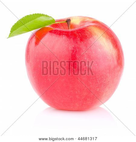 One Red Juicy Apple With Green Leaf On White Background