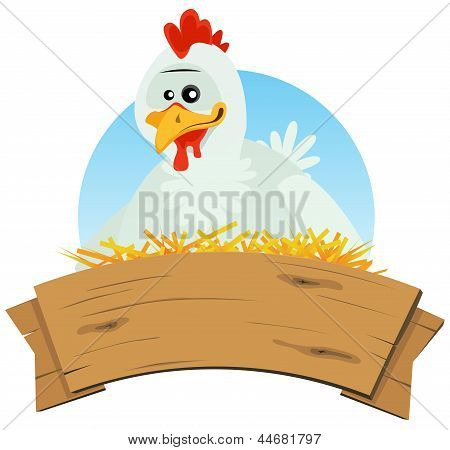 Chicken Nest And Wood Banner