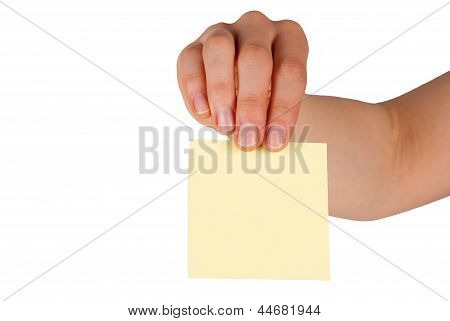 Hand Holding A Label With Copy Space