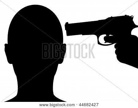 Arma apontando para a cabeça