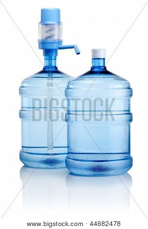Two Big Bottles Of Water With Pump Isolated On A White Background