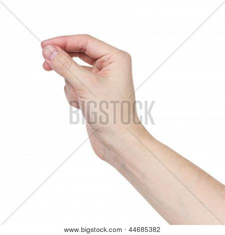 Adult Man Hand To Hold Something Flat