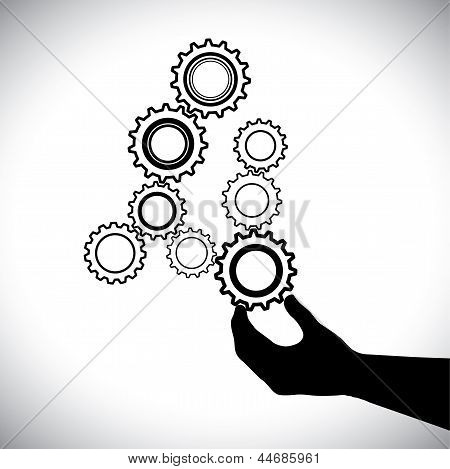 Abstract Cogwheels In Black And White Controlled By Hand(person)