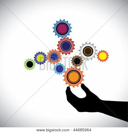 Abstract Colorful Cogwheels Graphic  Controlled By Hand(person). This Vector Illustration Represents
