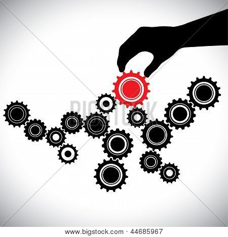Cogwheels In Black & White Controlled By Red Gear By Hand(person)