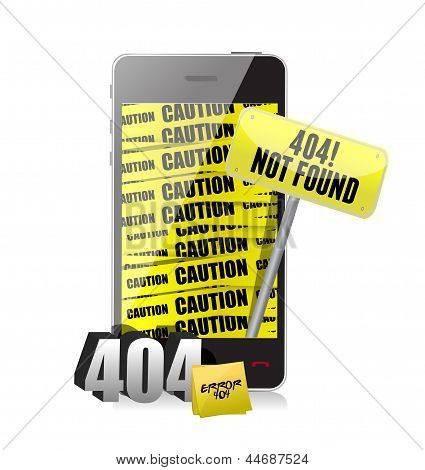 404 Error Display On A Phone.