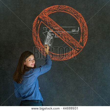 No Guns Pacifist Business Woman, Student, Teacher Or Politician On Blackboard Background