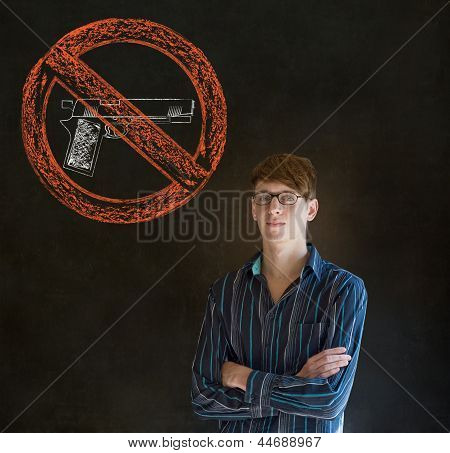 No Guns Pacifist Business Man, Student, Teacher Or Politician On Blackboard Background
