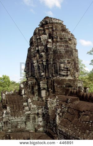 Buddha Face Statues In Bayong