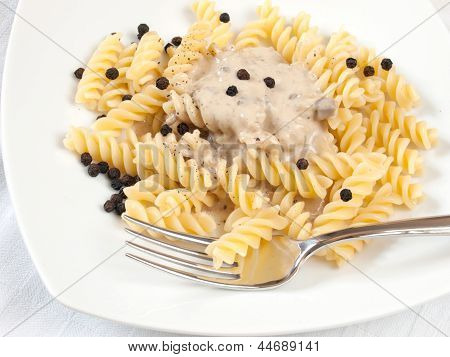 Fusilli And Mushroom Cream