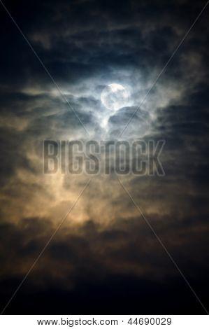 Dark winter sky with thick clods