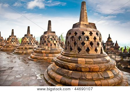Stupa statue  from Borobudur on Java in Indonesia.