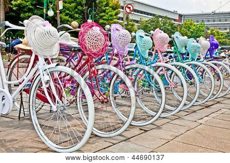 Indonesian bicycles for rent in Jakarta, Java,  Indonesia.