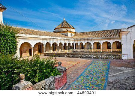 Patio Principal of La Casa De Pilatos, Seville In Spain. The building is a precious palace in mudejar spanish style.
