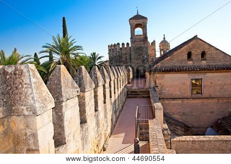 Wall of famous Alcazar in Cordoba,  Andalusia. Spain . UNESCO World Heritage Site.