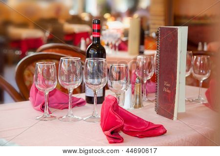 Served Wine restaurant table in Spain.