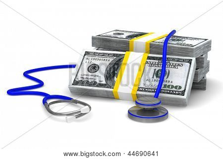 Paid medicine on white background. Isolated 3D image