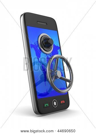phone with key on white background. Isolated 3D image