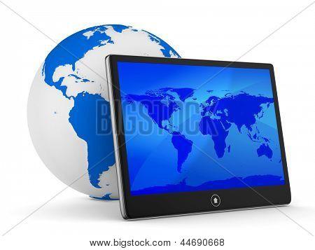 tableta sobre fondo blanco. Imagen 3D aislada