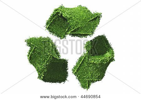 Recycle Symbol Covered By Grass