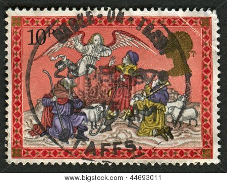 UK - CIRCA 1979: A stamp printed in UK shows image of The Angel appearing to the Shepherds, circa 1979.