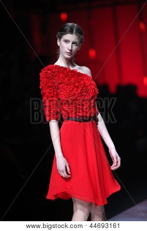 ZAGREB, CROATIA - MARCH 14: Fashion model wears clothes made by Pavla Aleksic on