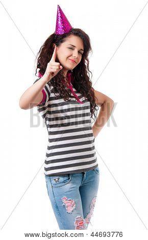 Beautiful girl in birthday cap, isolated white background